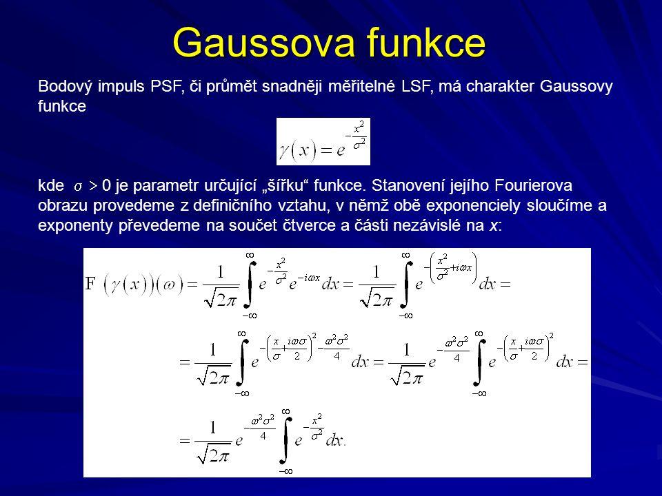 Gaussova funkce Poslední integrand nemá primitivní funkci, takže jej bylo nutno zintegrovat lebesgueovsky: čili Lze tedy psát což je hledaný Fourierův obraz Gaussovy funkce.
