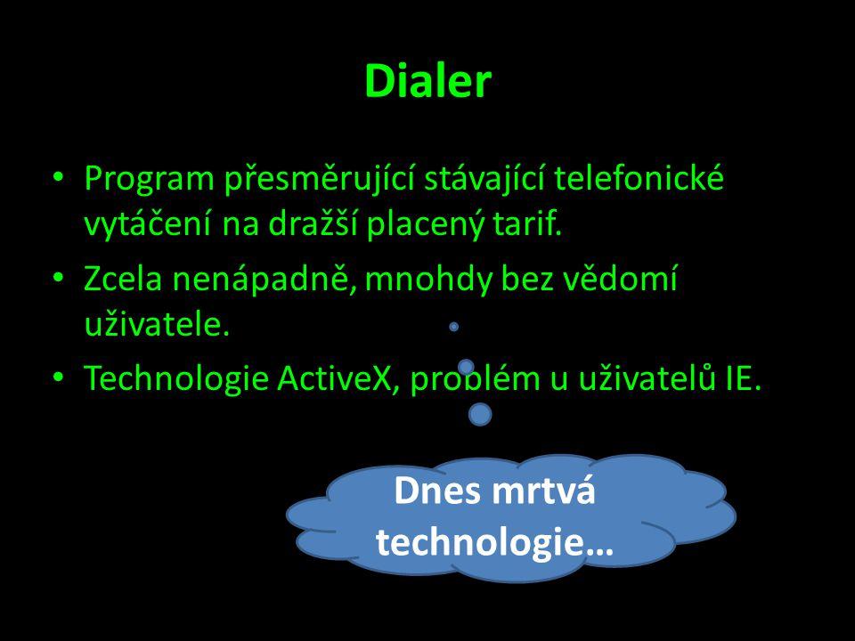 Dialer • Program přesměrující stávající telefonické vytáčení na dražší placený tarif. • Zcela nenápadně, mnohdy bez vědomí uživatele. • Technologie Ac
