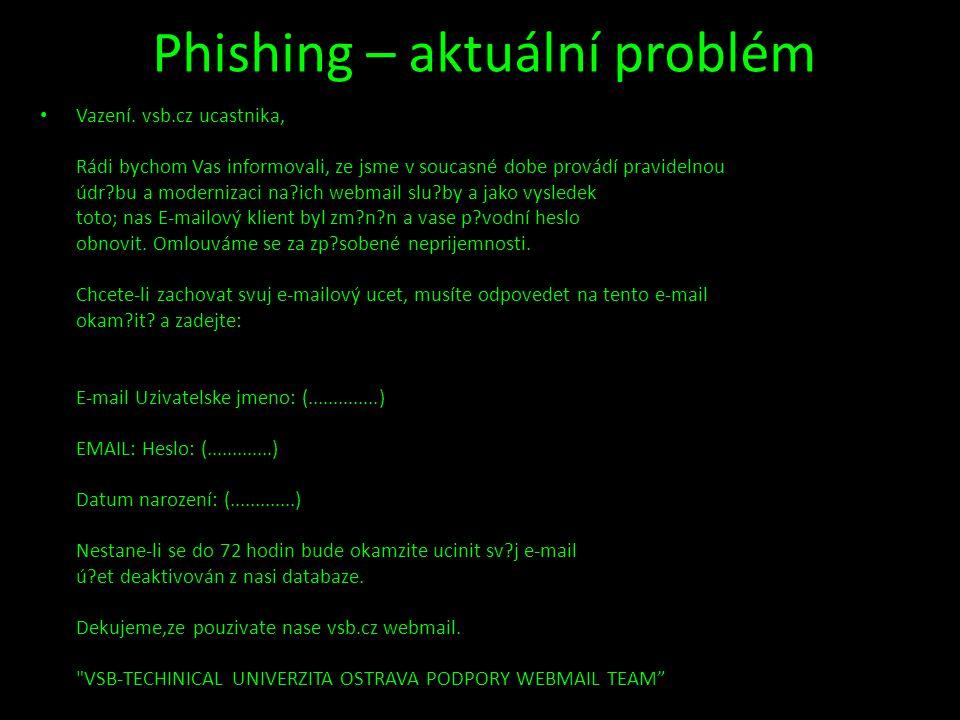 Phishing – aktuální problém • Vazení. vsb.cz ucastnika, Rádi bychom Vas informovali, ze jsme v soucasné dobe provádí pravidelnou údr?bu a modernizaci