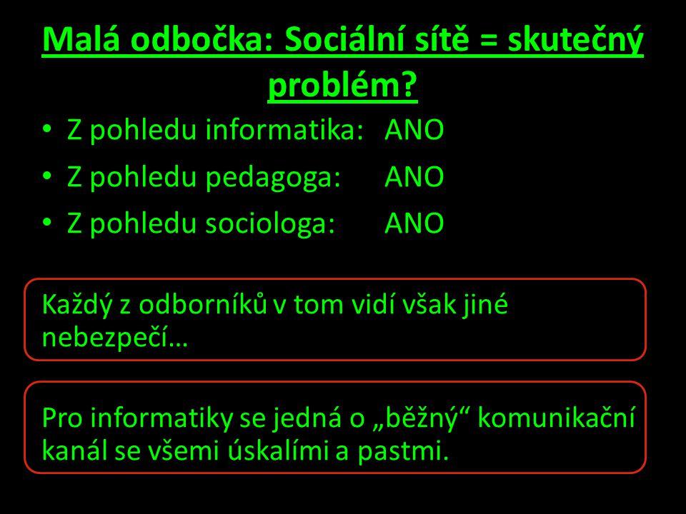 Malá odbočka: Sociální sítě = skutečný problém? • Z pohledu informatika: ANO • Z pohledu pedagoga: ANO • Z pohledu sociologa:ANO Každý z odborníků v t