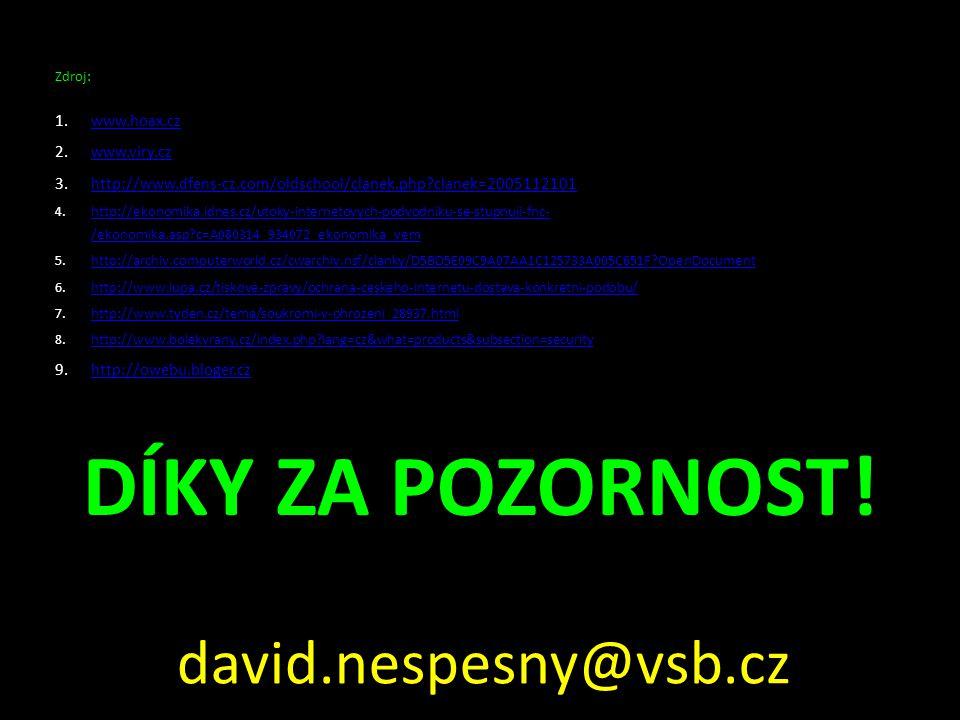 DÍKY ZA POZORNOST! Zdroj: 1.www.hoax.czwww.hoax.cz 2.www.viry.czwww.viry.cz 3.http://www.dfens-cz.com/oldschool/clanek.php?clanek=2005112101http://www