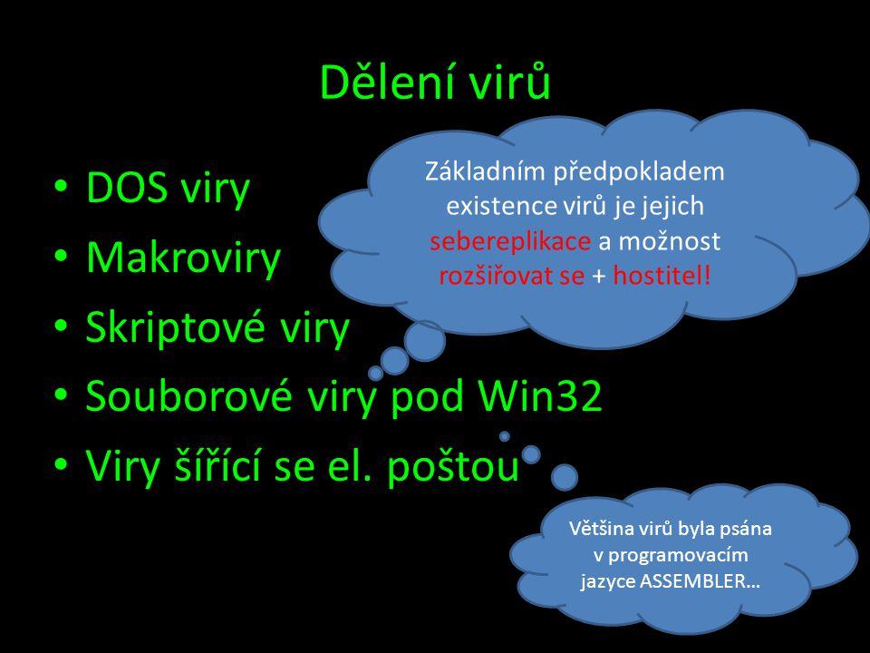 Dělení virů • DOS viry • Makroviry • Skriptové viry • Souborové viry pod Win32 • Viry šířící se el. poštou Základním předpokladem existence virů je je