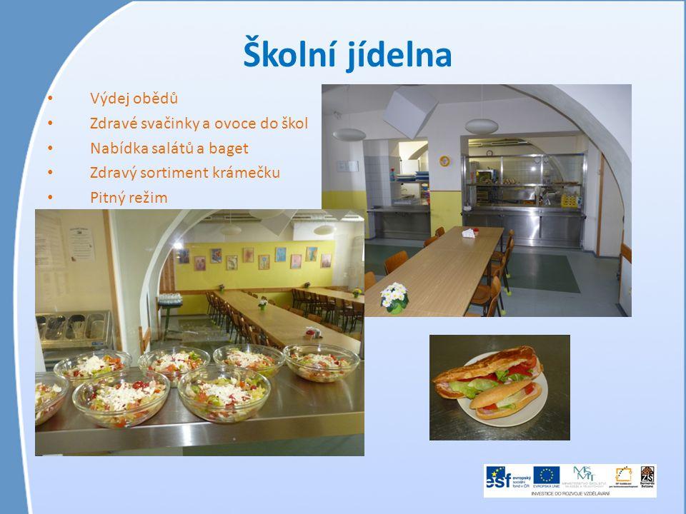 Školní jídelna • Výdej obědů • Zdravé svačinky a ovoce do škol • Nabídka salátů a baget • Zdravý sortiment krámečku • Pitný režim