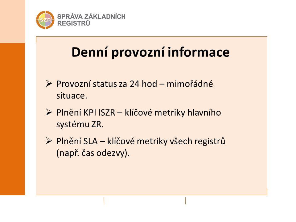 Denní provozní informace  Provozní status za 24 hod – mimořádné situace.