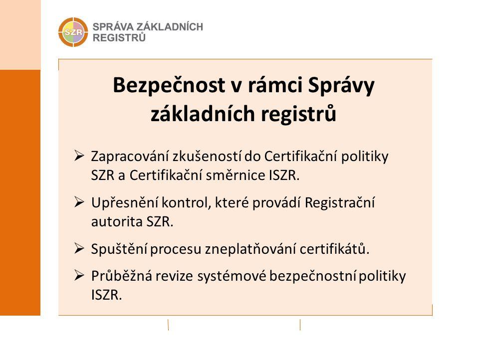 Bezpečnost v rámci Správy základních registrů  Zapracování zkušeností do Certifikační politiky SZR a Certifikační směrnice ISZR.