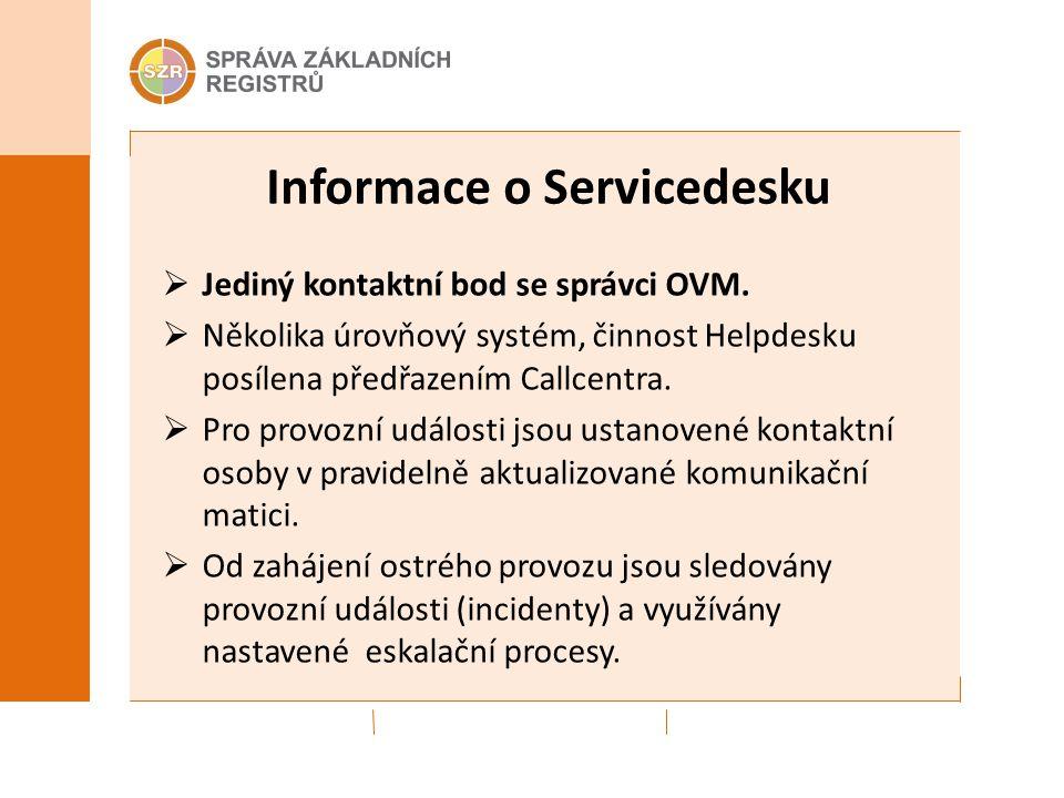 Informace o Servicedesku  Jediný kontaktní bod se správci OVM.