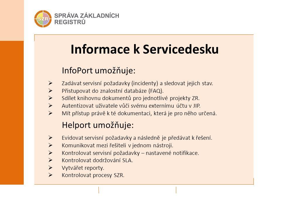 Informace k Servicedesku InfoPort umožňuje:  Zadávat servisní požadavky (incidenty) a sledovat jejich stav.