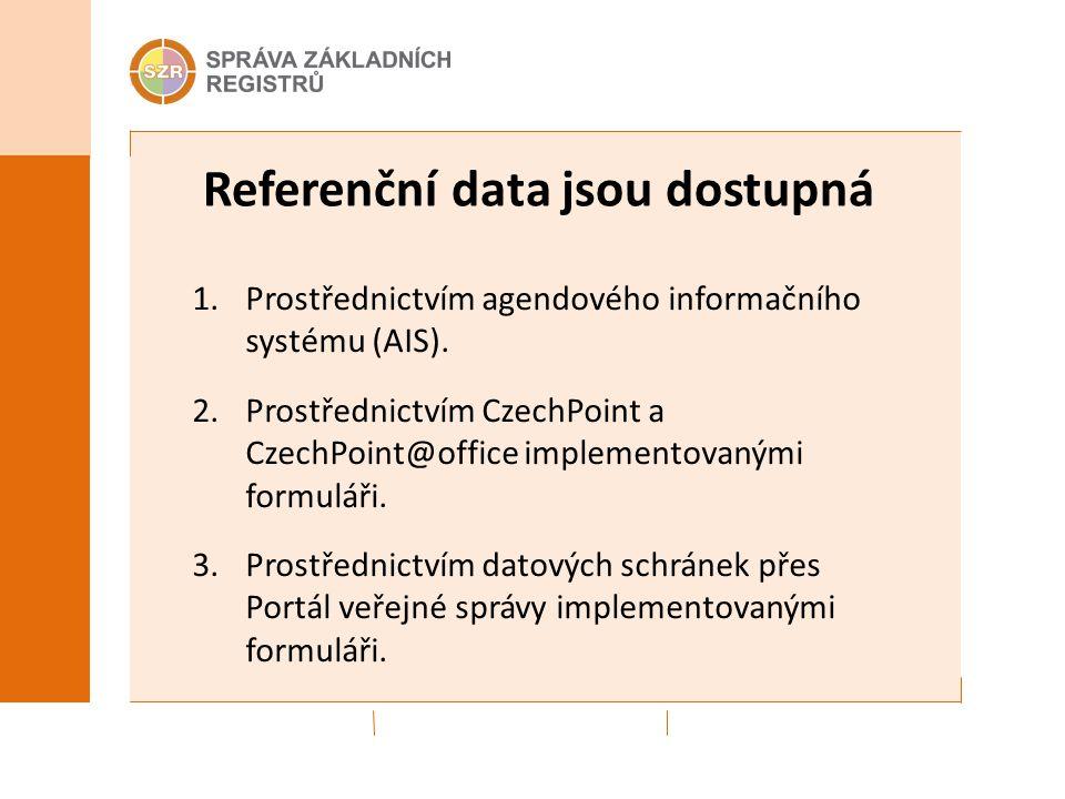 Referenční data jsou dostupná 1.Prostřednictvím agendového informačního systému (AIS).