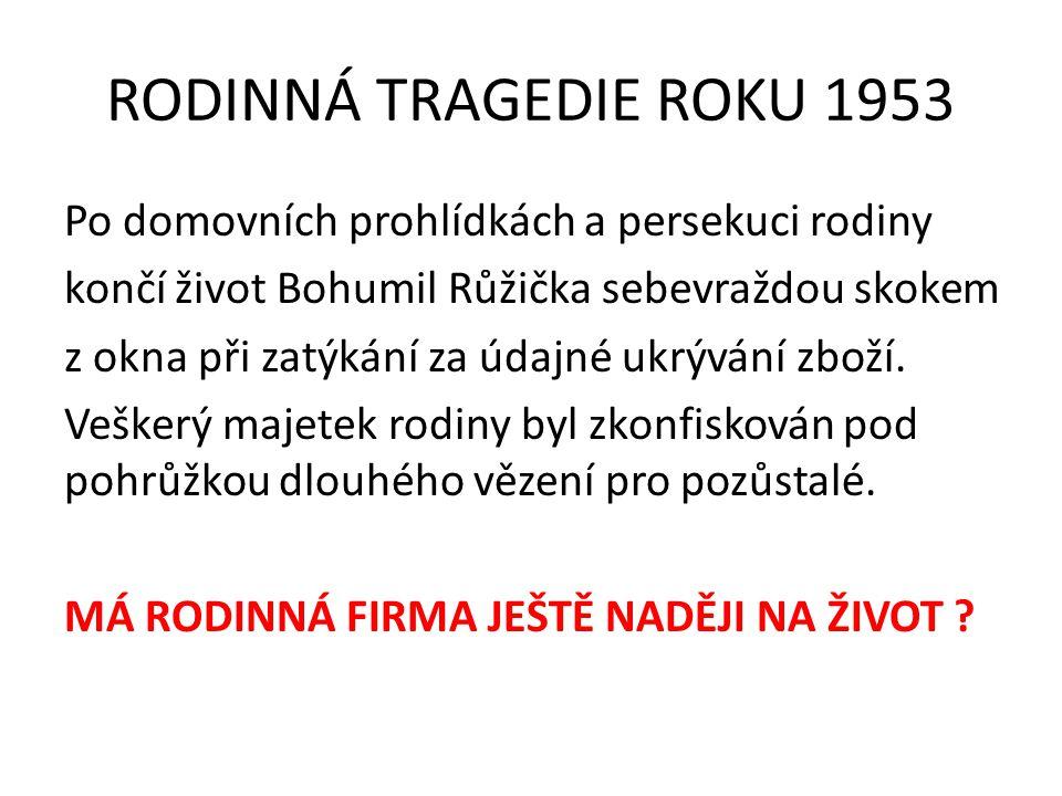 RODINNÁ TRAGEDIE ROKU 1953 Po domovních prohlídkách a persekuci rodiny končí život Bohumil Růžička sebevraždou skokem z okna při zatýkání za údajné ukrývání zboží.