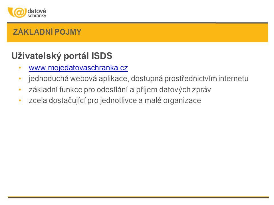 ZÁKLADNÍ POJMY Uživatelský portál ISDS •www.mojedatovaschranka.czwww.mojedatovaschranka.cz •jednoduchá webová aplikace, dostupná prostřednictvím inter