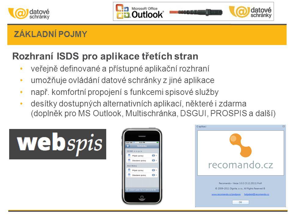 ZÁKLADNÍ POJMY Rozhraní ISDS pro aplikace třetích stran •veřejně definované a přístupné aplikační rozhraní •umožňuje ovládání datové schránky z jiné a