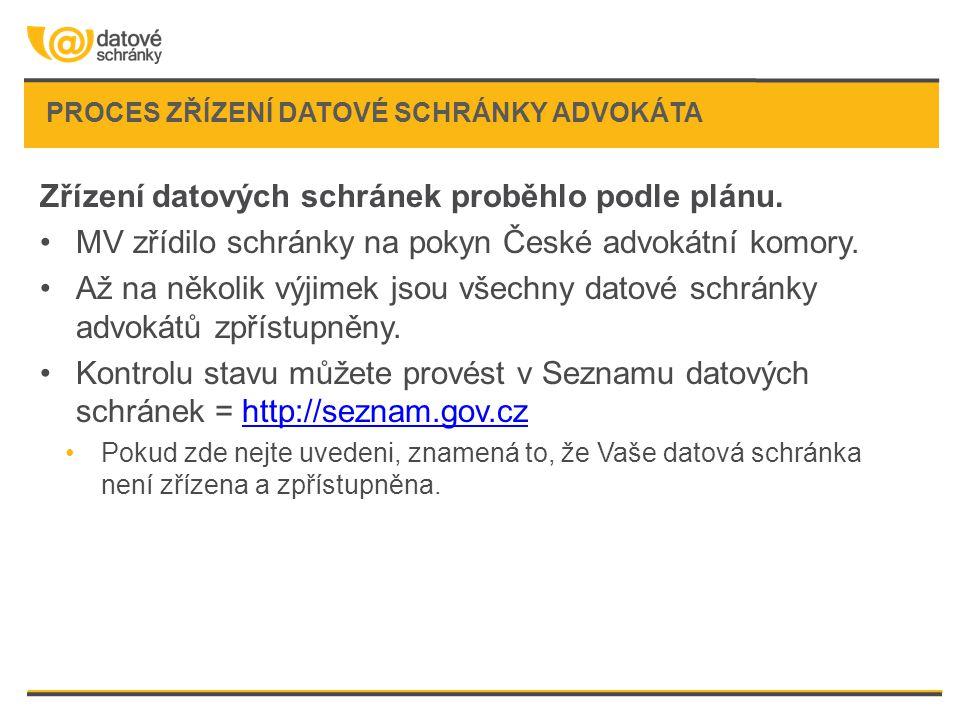 PROCES ZŘÍZENÍ DATOVÉ SCHRÁNKY ADVOKÁTA Zřízení datových schránek proběhlo podle plánu. •MV zřídilo schránky na pokyn České advokátní komory. •Až na n