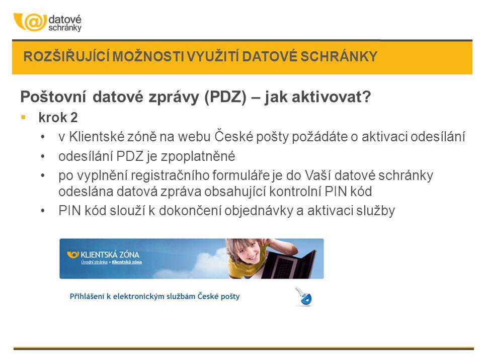 ROZŠIŘUJÍCÍ MOŽNOSTI VYUŽITÍ DATOVÉ SCHRÁNKY Poštovní datové zprávy (PDZ) – jak aktivovat?  krok 2 •v Klientské zóně na webu České pošty požádáte o a