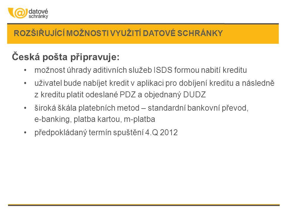 ROZŠIŘUJÍCÍ MOŽNOSTI VYUŽITÍ DATOVÉ SCHRÁNKY Česká pošta připravuje: •možnost úhrady aditivních služeb ISDS formou nabití kreditu •uživatel bude nabíj