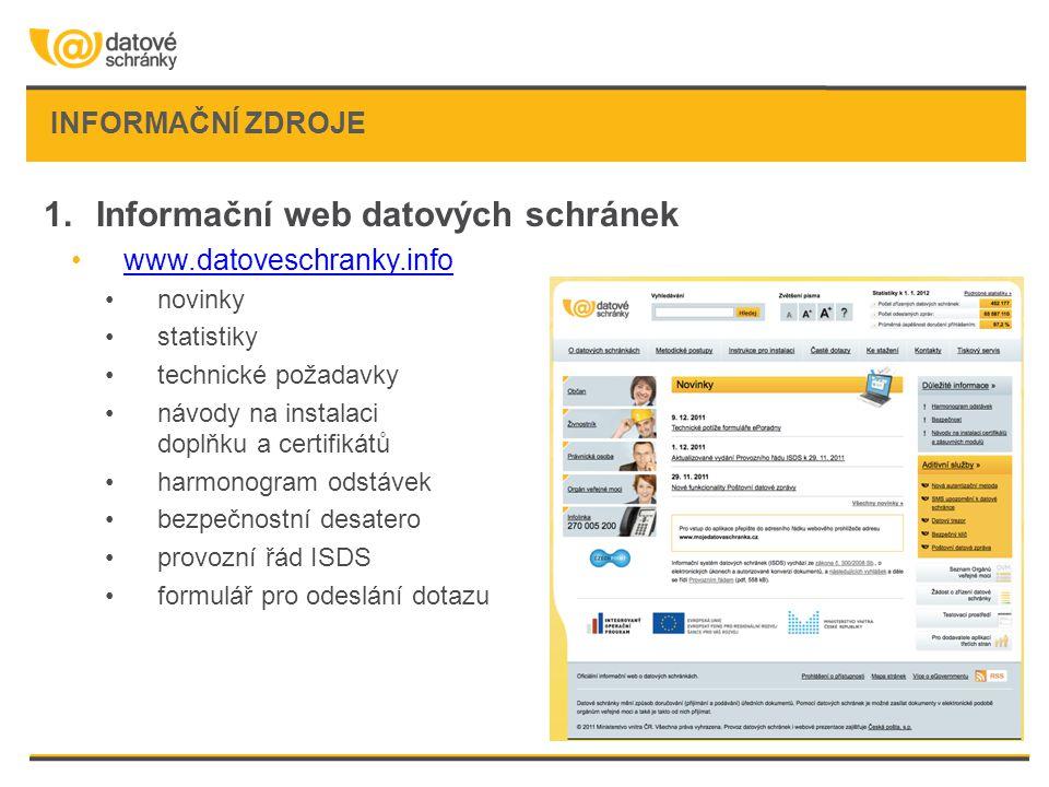 INFORMAČNÍ ZDROJE 1.Informační web datových schránek •www.datoveschranky.infowww.datoveschranky.info •novinky •statistiky •technické požadavky •návody