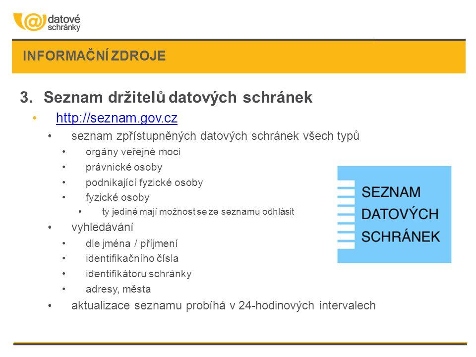 INFORMAČNÍ ZDROJE 3.Seznam držitelů datových schránek •http://seznam.gov.czhttp://seznam.gov.cz •seznam zpřístupněných datových schránek všech typů •o