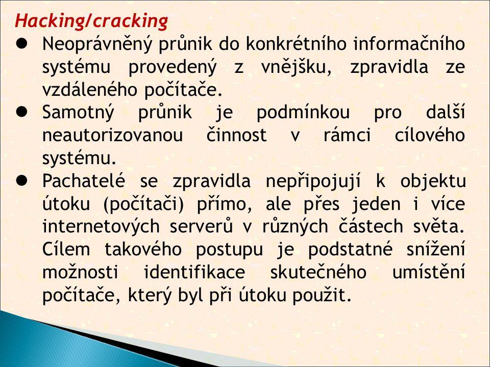 Hacking/cracking  Neoprávněný průnik do konkrétního informačního systému provedený z vnějšku, zpravidla ze vzdáleného počítače.