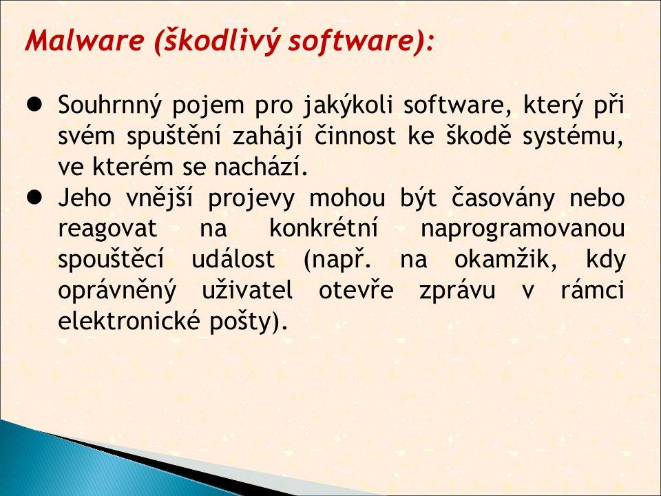Malware (škodlivý software):  Souhrnný pojem pro jakýkoli software, který při svém spuštění zahájí činnost ke škodě systému, ve kterém se nachází.