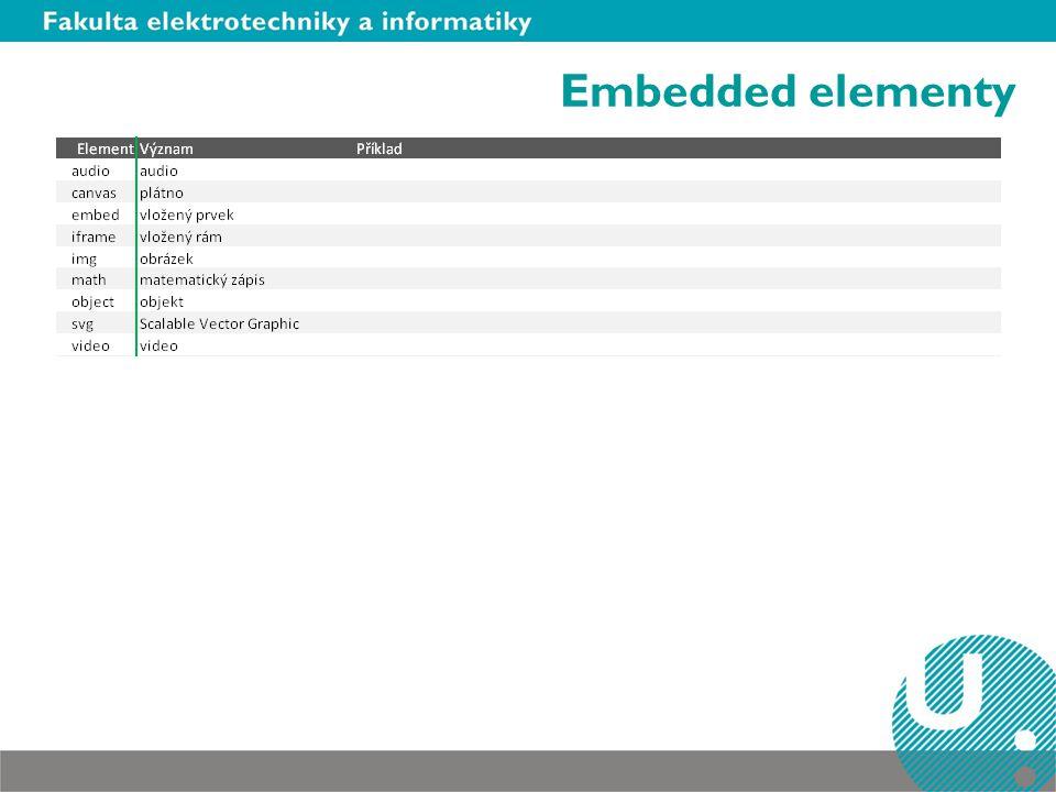 Embedded elementy