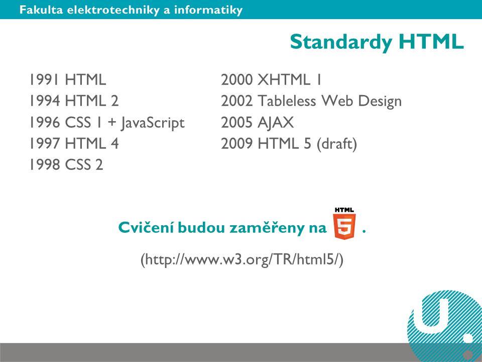 Standardy HTML 1991 HTML2000 XHTML 1 1994 HTML 22002 Tableless Web Design 1996 CSS 1 + JavaScript2005 AJAX 1997 HTML 42009 HTML 5 (draft) 1998 CSS 2 Cvičení budou zaměřeny na.