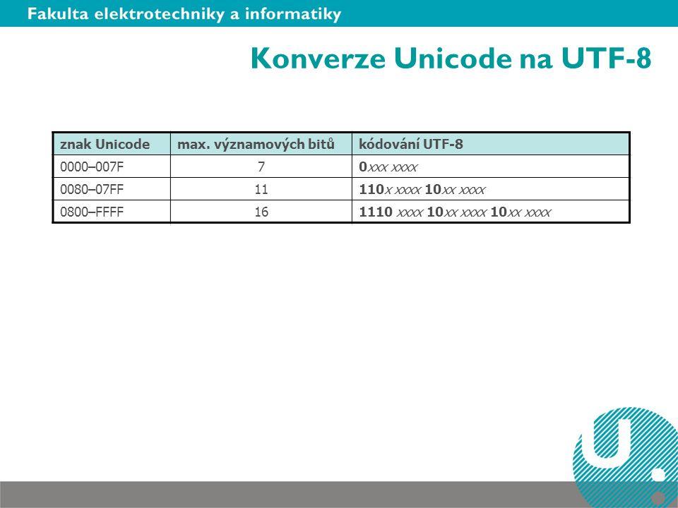 Konverze Unicode na UTF-8 znak Unicodemax.