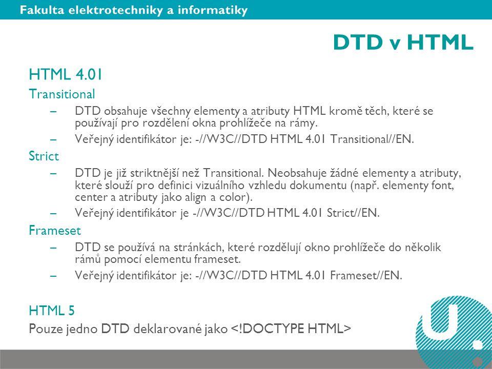 DTD v HTML HTML 4.01 Transitional –DTD obsahuje všechny elementy a atributy HTML kromě těch, které se používají pro rozdělení okna prohlížeče na rámy.