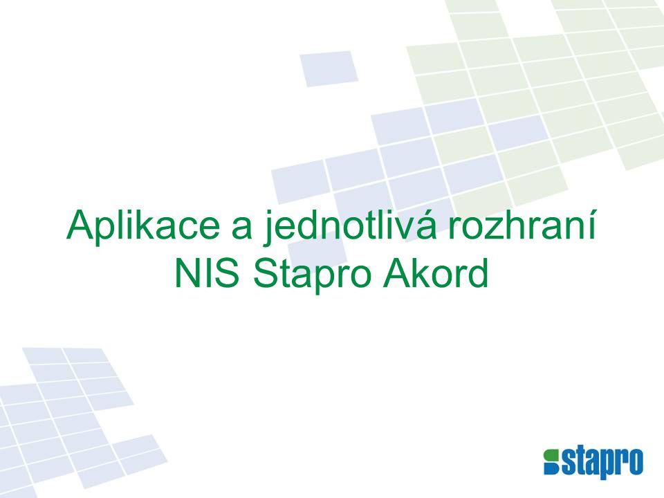 Aplikace a jednotlivá rozhraní NIS Stapro Akord