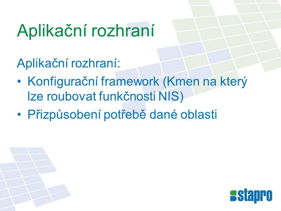 Aplikační rozhraní Aplikační rozhraní: •Konfigurační framework (Kmen na který lze roubovat funkčnosti NIS) •Přizpůsobení potřebě dané oblasti