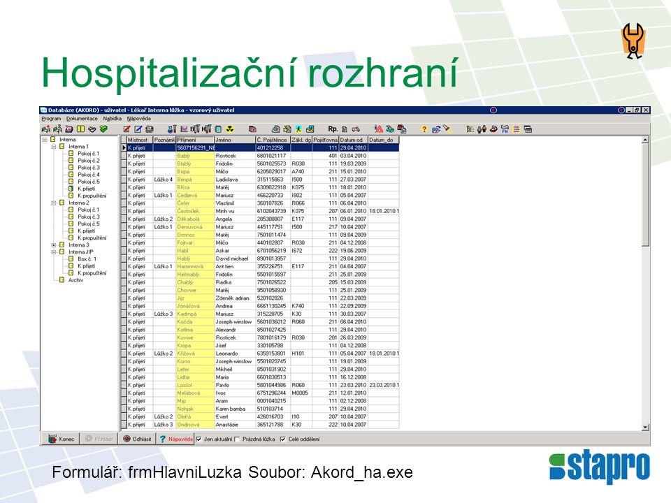 Hospitalizační rozhraní Formulář: frmHlavniLuzka Soubor: Akord_ha.exe