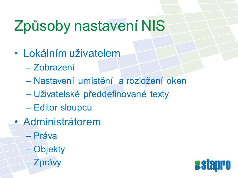 Způsoby nastavení NIS •Lokálním uživatelem –Zobrazení –Nastavení umístění a rozložení oken –Uživatelské předdefinované texty –Editor sloupců •Administ