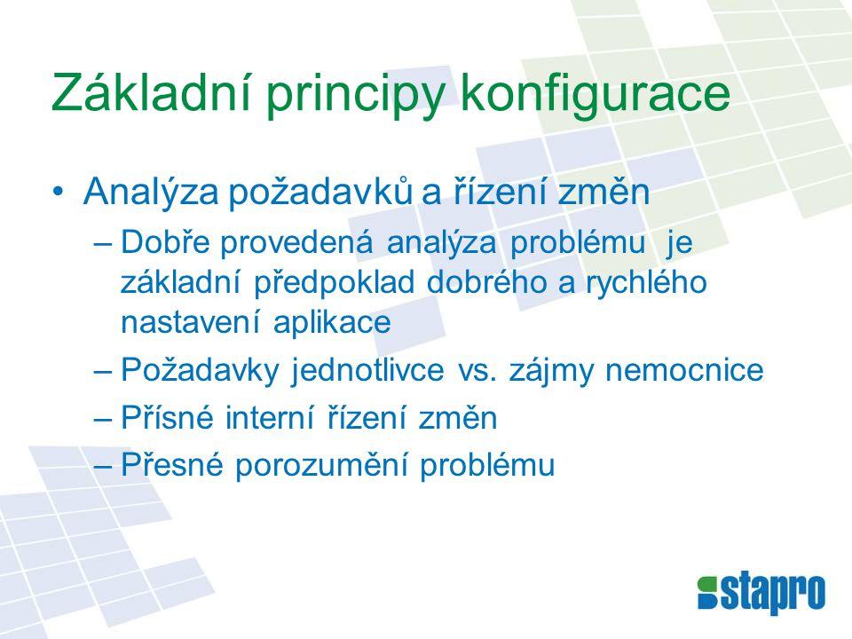Základní principy konfigurace •Analýza požadavků a řízení změn –Dobře provedená analýza problému je základní předpoklad dobrého a rychlého nastavení a