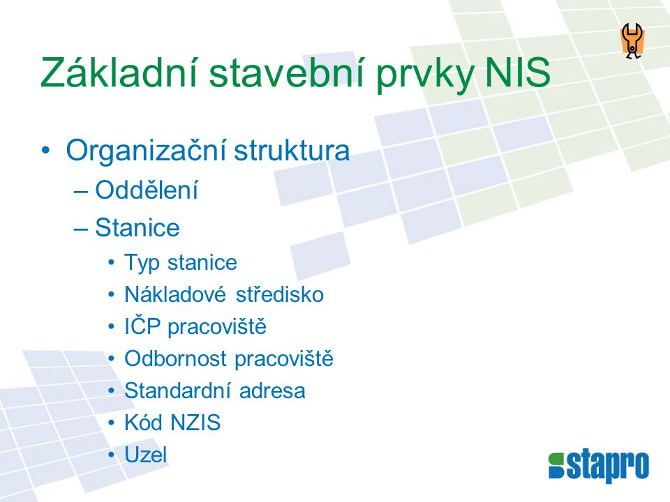 Základní stavební prvky NIS •Organizační struktura –Oddělení –Stanice •Typ stanice •Nákladové středisko •IČP pracoviště •Odbornost pracoviště •Standar