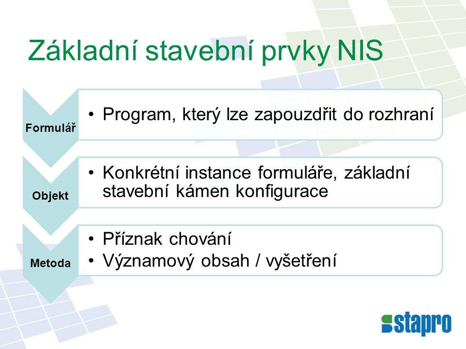 Základní stavební prvky NIS Formulář •Program, který lze zapouzdřit do rozhraní Objekt •Konkrétní instance formuláře, základní stavební kámen konfigur