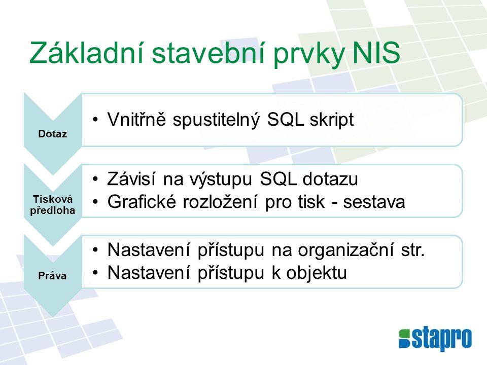 Základní stavební prvky NIS Dotaz •Vnitřně spustitelný SQL skript Tisková předloha •Závisí na výstupu SQL dotazu •Grafické rozložení pro tisk - sestav