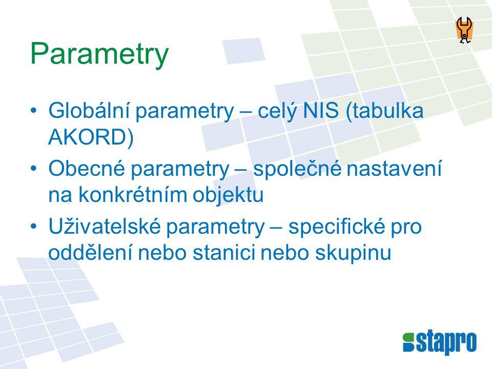 Parametry •Globální parametry – celý NIS (tabulka AKORD) •Obecné parametry – společné nastavení na konkrétním objektu •Uživatelské parametry – specifi