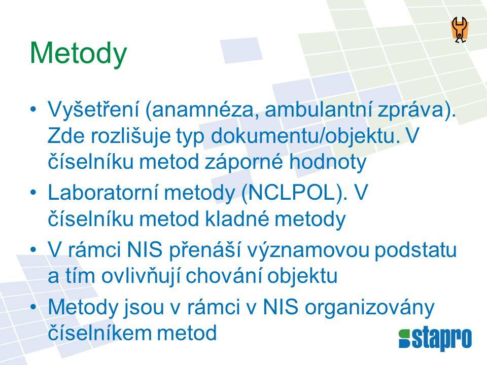 Metody •Vyšetření (anamnéza, ambulantní zpráva). Zde rozlišuje typ dokumentu/objektu. V číselníku metod záporné hodnoty •Laboratorní metody (NCLPOL).