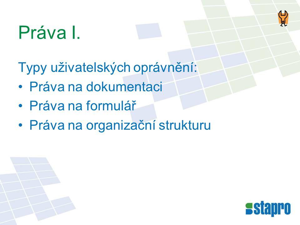 Práva I. Typy uživatelských oprávnění: •Práva na dokumentaci •Práva na formulář •Práva na organizační strukturu