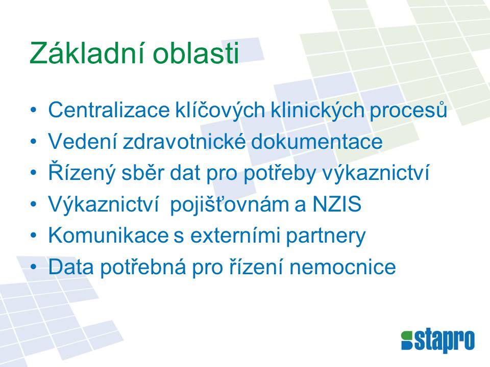 Základní stavební prvky NIS Dokumen- tace •Datová obálka (ID_DOKUMENTACE) •Zastřešuje jednotlivé dokumenty Výskyt •Vizualizace polohy pacienta v NIS (ID_VYSKYT) Uživatel •Konkrétní uživatel (ID_UZIVATEL) •Skupinový uživatel (ID_SKUPINA)