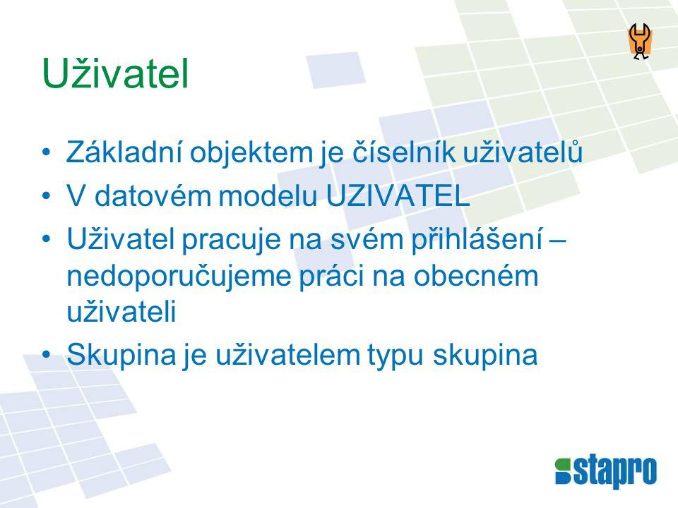 Uživatel •Základní objektem je číselník uživatelů •V datovém modelu UZIVATEL •Uživatel pracuje na svém přihlášení – nedoporučujeme práci na obecném už