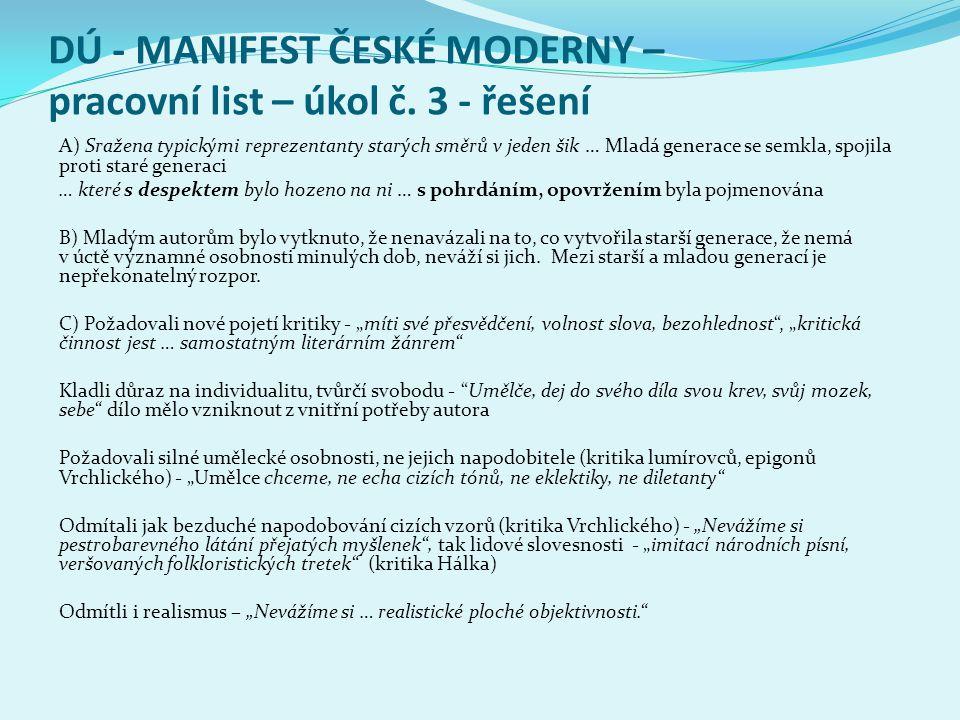 DÚ - MANIFEST ČESKÉ MODERNY – pracovní list – úkol č.
