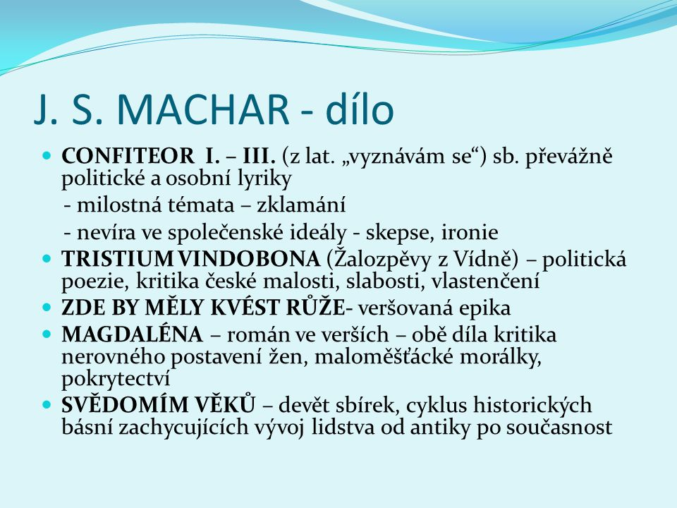 "J.S. MACHAR - dílo  CONFITEOR I. – III. (z lat. ""vyznávám se ) sb."