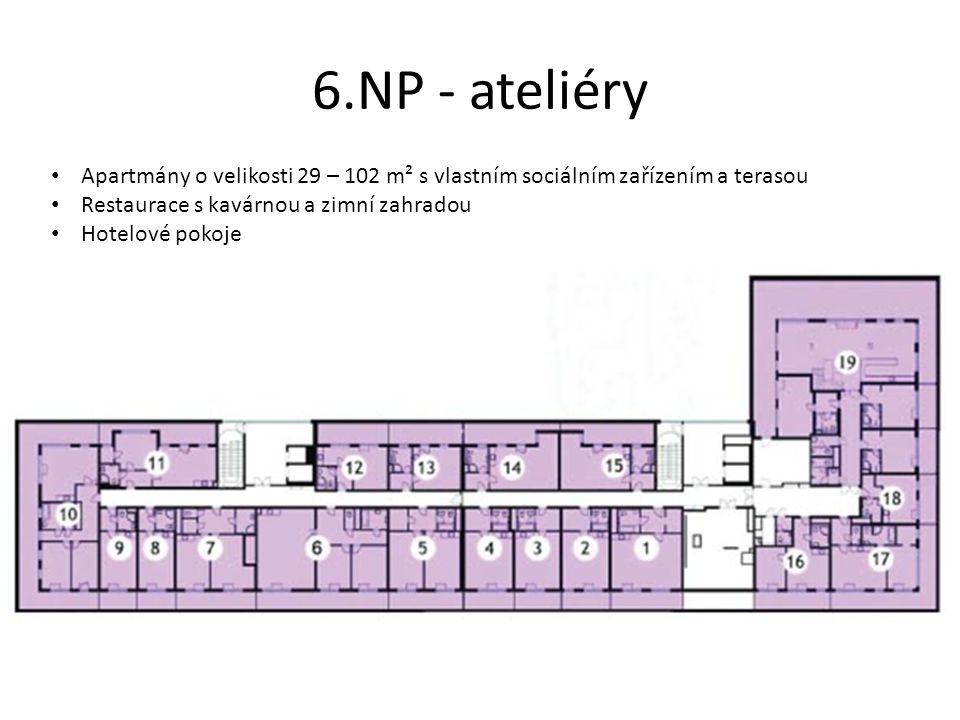 6.NP - ateliéry • Apartmány o velikosti 29 – 102 m² s vlastním sociálním zařízením a terasou • Restaurace s kavárnou a zimní zahradou • Hotelové pokoj