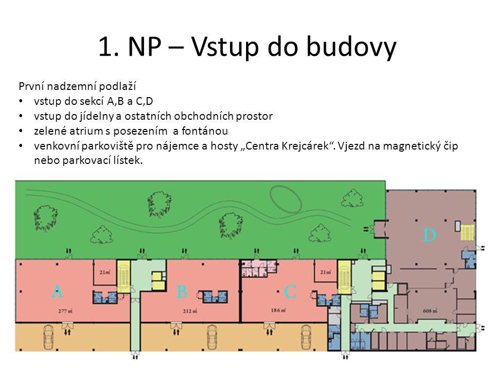 1. NP – Vstup do budovy První nadzemní podlaží • vstup do sekcí A,B a C,D • vstup do jídelny a ostatních obchodních prostor • zelené atrium s posezení