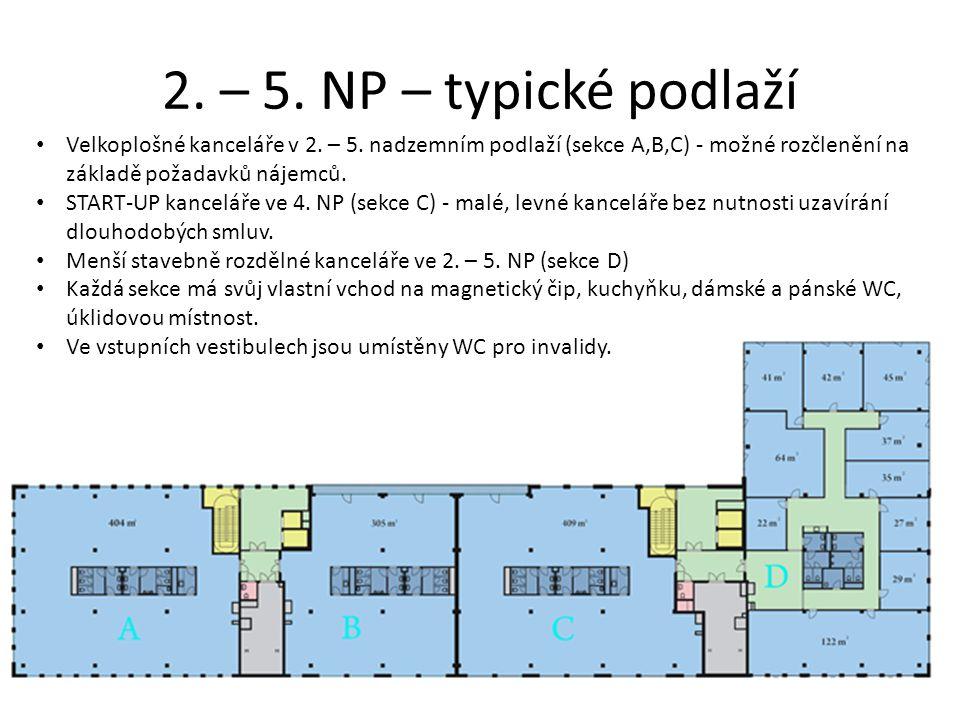 2. – 5. NP – typické podlaží • Velkoplošné kanceláře v 2. – 5. nadzemním podlaží (sekce A,B,C) - možné rozčlenění na základě požadavků nájemců. • STAR