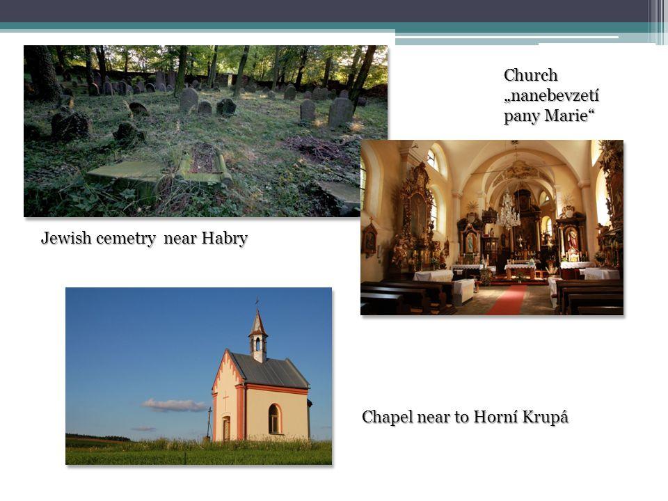 """Jewish cemetry near Habry Church """"nanebevzetí pany Marie Chapel near to Horní Krupá"""