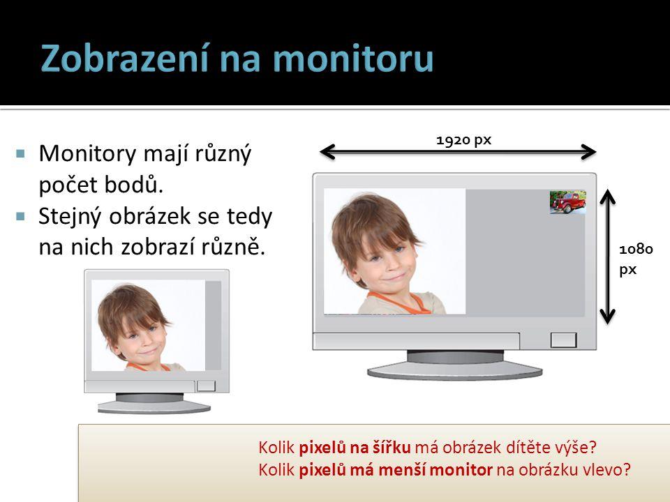  Monitory mají různý počet bodů. Stejný obrázek se tedy na nich zobrazí různě.