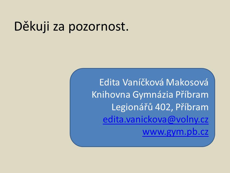 Děkuji za pozornost. Edita Vaníčková Makosová Knihovna Gymnázia Příbram Legionářů 402, Příbram edita.vanickova@volny.cz www.gym.pb.cz
