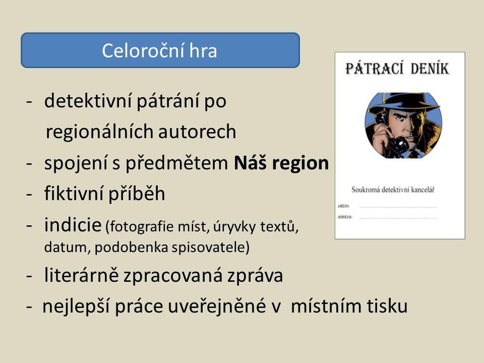 -detektivní pátrání po regionálních autorech -spojení s předmětem Náš region -fiktivní příběh -indicie (fotografie míst, úryvky textů, datum, podobenk