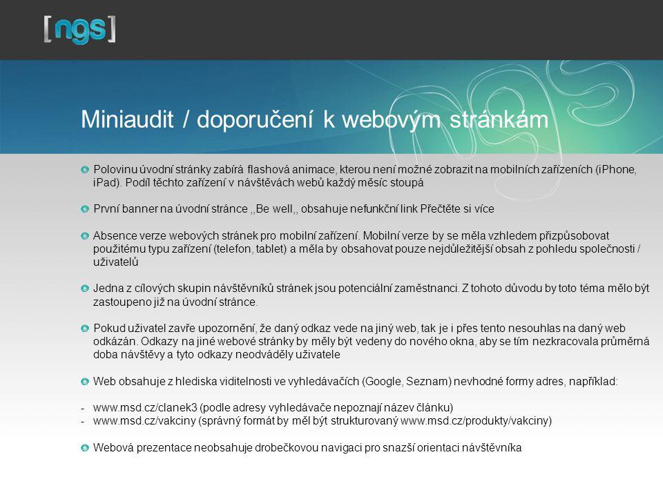 Miniaudit / doporučení k webovým stránkám Polovinu úvodní stránky zabírá flashová animace, kterou není možné zobrazit na mobilních zařízeních (iPhone, iPad).