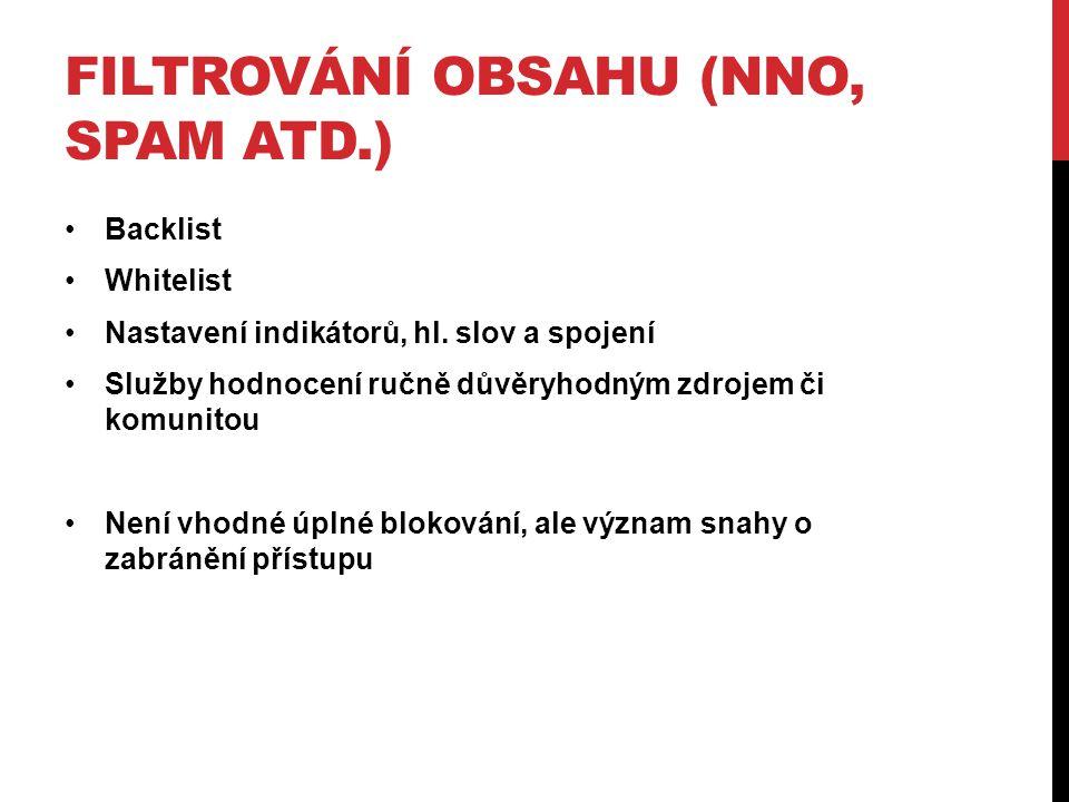 FILTROVÁNÍ OBSAHU (NNO, SPAM ATD.) •Backlist •Whitelist •Nastavení indikátorů, hl.